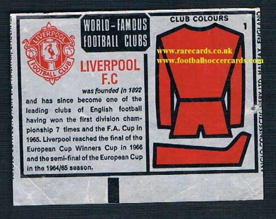 1970 Anglo Gum insert Liverpool 1
